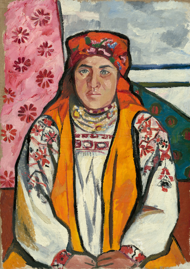 Natalia Goncharova. Peasant Woman from Tula Province, 1910. Oil paint on canvas, 103.5 x 73 cm. State Tretyakov Gallery, Moscow. Bequeathed by A.K. Larionova-Tomilina 1989. © ADAGP, Paris and DACS, London 2019.
