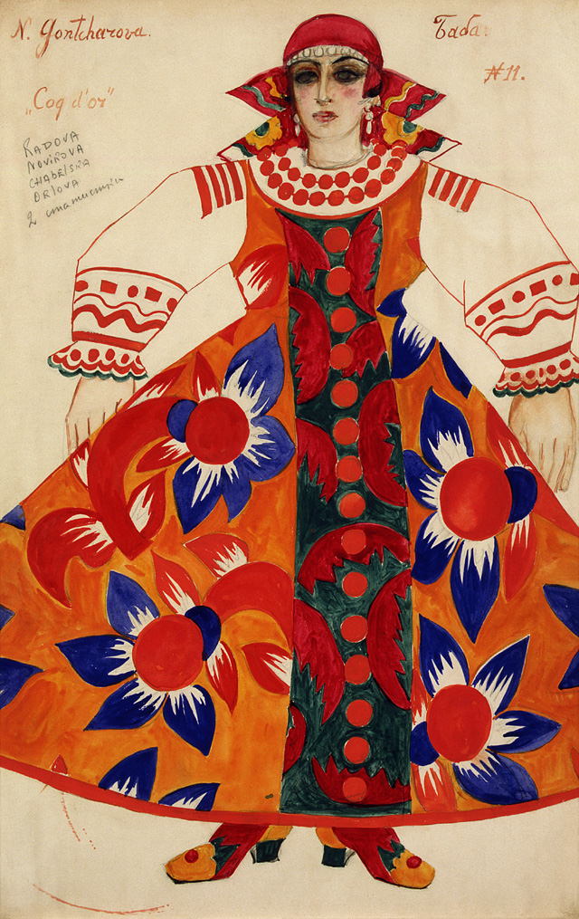 Natalia Goncharova. Peasant woman. Costume design for Le Coq d'Or, 1937. Watercolour, bronze paint and graphite on paper, 45.5 x 30 cm. State Tretyakov Gallery, Moscow. Presented by E. Kurnan 1983. © ADAGP, Paris and DACS, London 2019.
