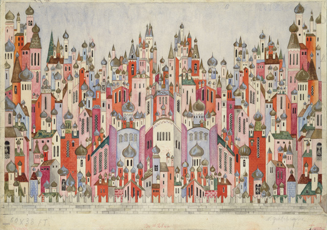 Natalia Goncharova. Set design for the final scene of The Firebird, 1954. Graphite and gouache on paper. Victoria and Albert Museum, London. © ADAGP, Paris and DACS, London 2019 .