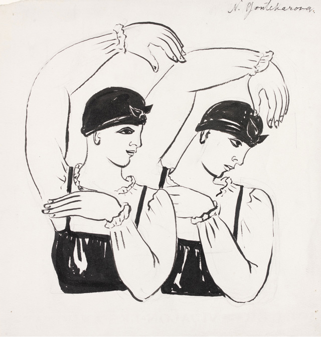 Natalia Goncharova. Two female dancers (half-length). Choreography design for Les Noces, c1923. Ink and paint on paper, 25 x 25 cm. Victoria and Albert Museum, London. © ADAGP, Paris and DACS, London 2019.