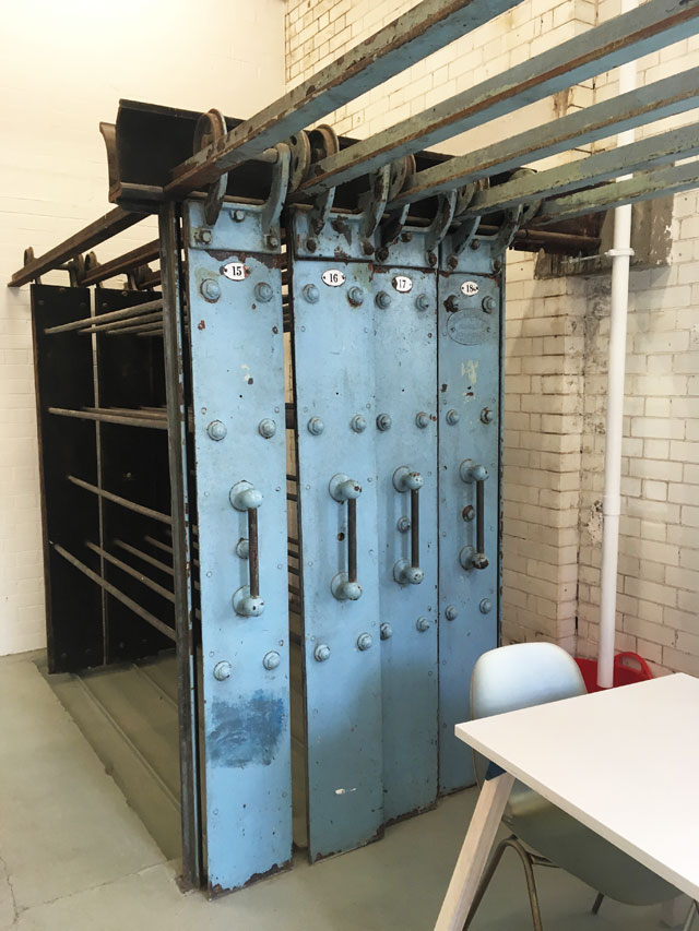 Original metal laundry racks in the cafe, Goldsmiths Centre For Contemporary Art. Photo: Veronica Simpson.