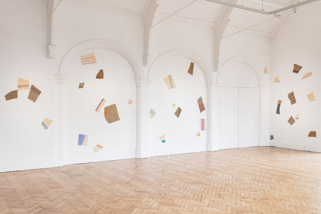 Giorgio Griffa. Frammenti, 1980. 60 fragments of acrylic on canvas. Installation view, gallery 3. Photograph: Mark Blower.