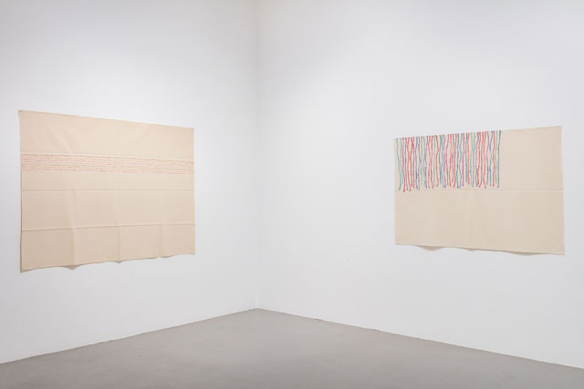 Giorgio Griffa. Dall'Alto, 1968 (left); Trattegiato, 1972 (right). Installation view, gallery 1. Photograph: Mark Blower.