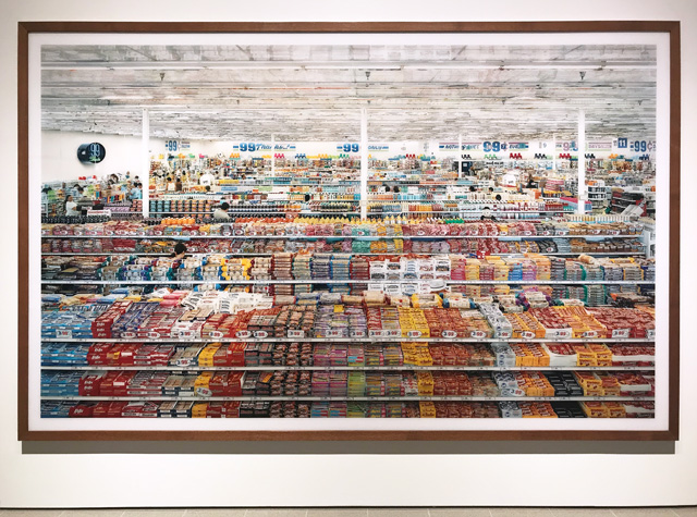 Andreas Gursky at Hayward Gallery 25 January – 22 April 2018. Installation view, 99 Cent, 1999 ( remastered 2009). Photograph: Martin Kennedy.