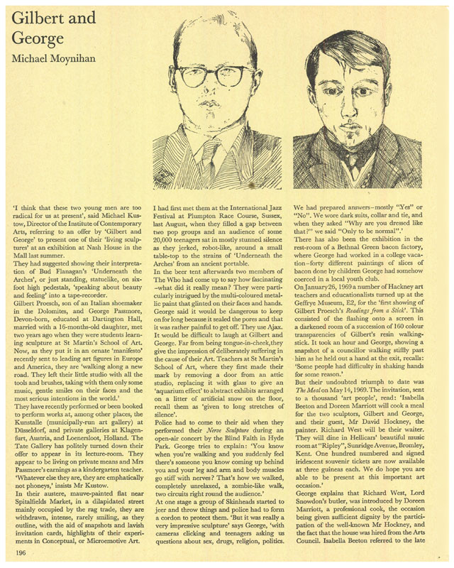 Gilbert and George by Michael Moynihan. Published in Studio International, May 1970, Vol 179 No 922, page 196. © Studio International Foundation.