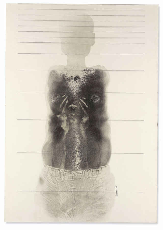 David Hammons. Close Your Eyes and See Black, 1969. Ink, graphite and body print on paperboard, 100.3 x 70.1 cm (39 1/2 x 27 5/8 in). © David Hammons, courtesy White Cube.