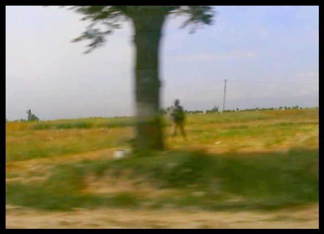 Shilpa Gupta. National highway No 1 – 6 mins 28 seconds en route Srinagar to a picnic in Gulmarg, Kashmir, 2005–06. Single channel video with audio, 6 min 28 sec loop.