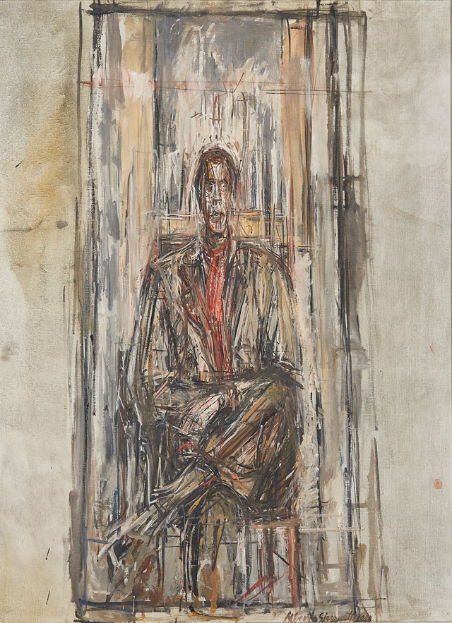 Alberto Giacometti. Diego Seated, 1948. Oil paint on canvas, 80.5 x 65 cm. Sainsbury Centre for the Visual Arts, Norwich. © Alberto Giacometti Estate, ACS/DACS, 2017.