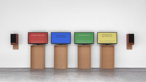 Charles Gaines. Manifestos 2, installation view, 2013. Paula Cooper Gallery, September 2013. Image courtesy of the Artist and Paula Cooper Gallery.