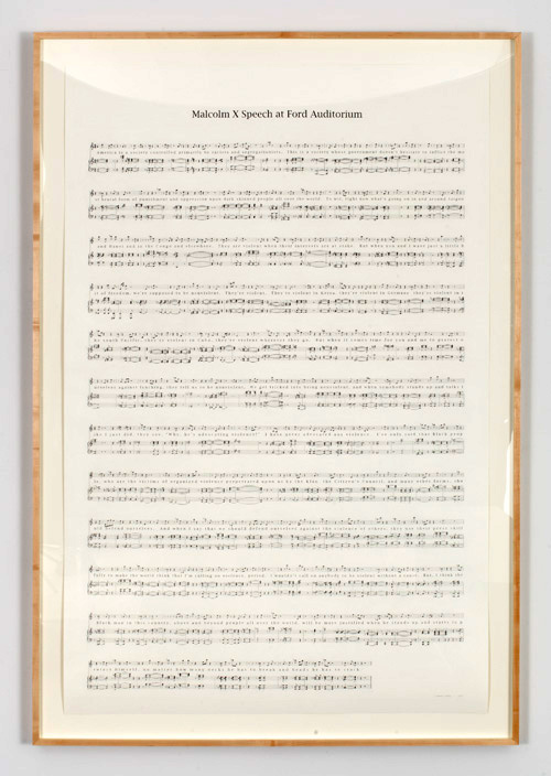 Charles Gaines. Manifestos 2: Malcolm X Speech at Ford Auditorium, (1965) 2013. Graphite on Rising Barrier paper, 73.50 x 48 in. 