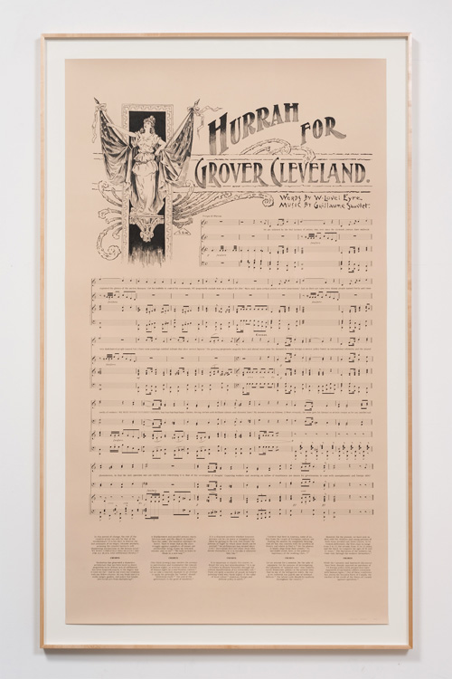 Charles Gaines. Notes on Social Justice: Hurrah For Grover Cleveland, 2013. Ink on Stonehenge paper, 76.25 x 46.25 in. Image courtesy on the Artist and Susanne Vielmetter Los Angeles Projects.