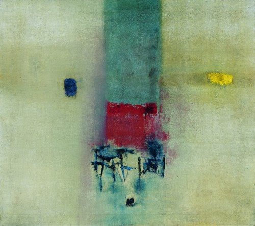 Vasudeo Santu Gaitonde. Painting No 6, 1962. Oil on canvas, 39 7/8 x 44 7/8 in (101.3 x 113.8 cm). Tata Institute of Fundamental Research, Mumbai. © Solomon R. Guggenheim Foundation, New York. Photograph: Anil Rane.