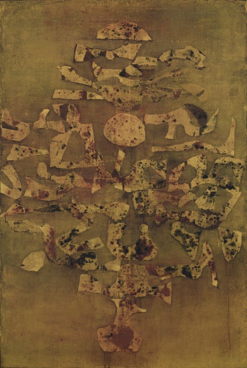 Vasudeo Santu Gaitonde. Untitled, 1985. Oil on canvas. 60 1/4 x 40 3/16 in (153 x 102 cm). National Gallery of Modern Art, New Delhi. © Solomon R. Guggenheim Foundation, New York. Photograph: Anil Rane.