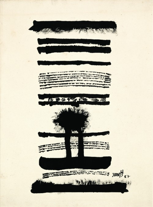 Vasudeo Santu Gaitonde. Untitled, 1987. Ink on paper, 14 3/8 x 10 7/8 in (36.5 x 27.5 cm). Collection of Ram Kumar. © Solomon R. Guggenheim Foundation, New York. Photograph: Anil Rane.