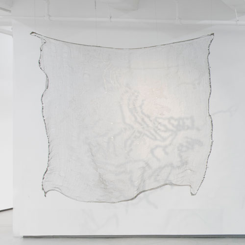 Vibha Galhotra. Map, 2014. Glass and bugle beads, cable, silver wire, 89 x 94 x 12 in.