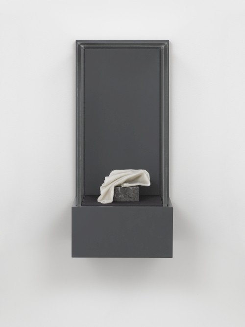 Ryan Gander. As is... (Statuette of Socrates, 200 BC, Anon.) 2015. Marble, Marble resin and Vitrine. 57.5 x 26.5 x 24 cm. © Ryan Gander; Courtesy Lisson Gallery, London.