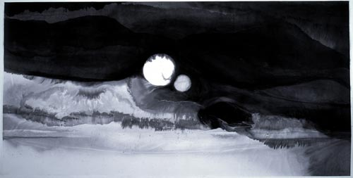 Gao Xingjian. <em>Eclipse</em>, 184 x 368 cm, 1999. Private collection.