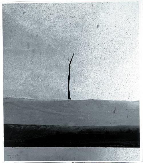 Gao Xingjian. <em>In the Rain</em>, 55.5 x 47.5 cm, 2000. Private collection.