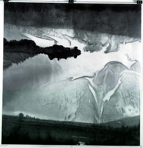 Gao Xingjian. <em>Rain of A Beautiful Day</em>, 144.5 x 139.5 cm, 2005. Private collection.