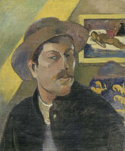 Paul Gauguin. <em>Self-portrait with Manao tu papau</em>, 1893. Oil on canvas, 46 x 38 cm. © RMN (Musée d'Orsay)/Hervé Lewandowski. © Paris Musée d'Orsay.