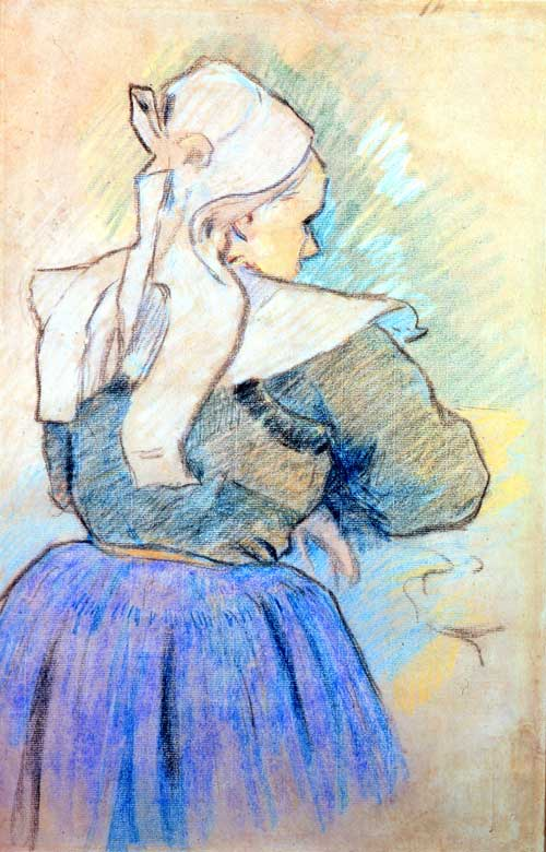 Paul Gauguin, <em>Breton Woman seen from behind</em>, 1886, (study for Breton Woman and Cow, 1888), 45.7 x 30cm © Collection Fondation Pierre Gianadda, Martigny