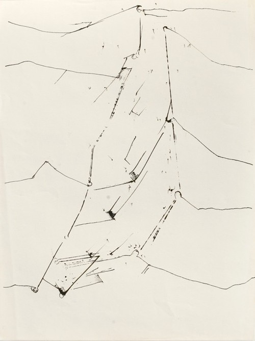 Gerd Leufert, Serie Ganchos (Hooks series), c1980. Ink on paper, 25 x 18 3/4 in (63.5 x 48 cm). Courtesy Cecilia de Torres Gallery, LTD.