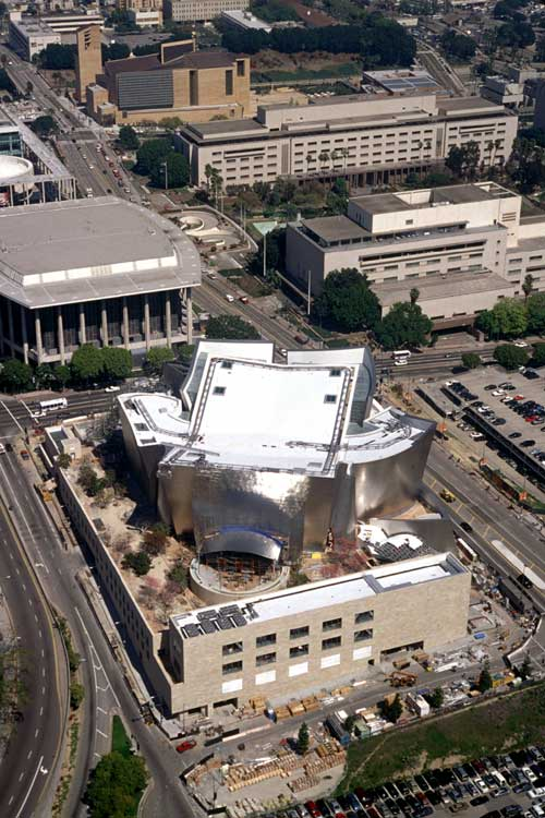 Aerial view, Walt Disney Concert Hall. Designed by Frank Gehry. Courtesy of the Los 