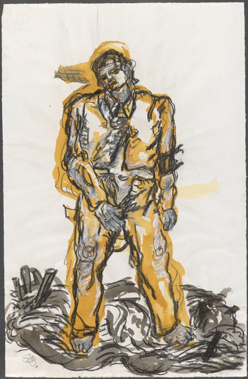 Georg Baselitz. Ein neuer Typ ('A New Type'), 1965. Grey and yellow ochre watercolour, charcoal, graphite and white pastel on paper. Presented to the British Museum by Count Christian Duerckheim. Reproduced by permission of the artist. © Georg Baselitz.
