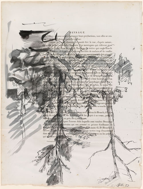 Georg Baselitz. Birch Trees (Paysage), 1972. Ink and watercolour on printed page. Presented to the British Museum by Count Christian Duerckheim. Reproduced by permission of the artist. © Georg Baselitz.