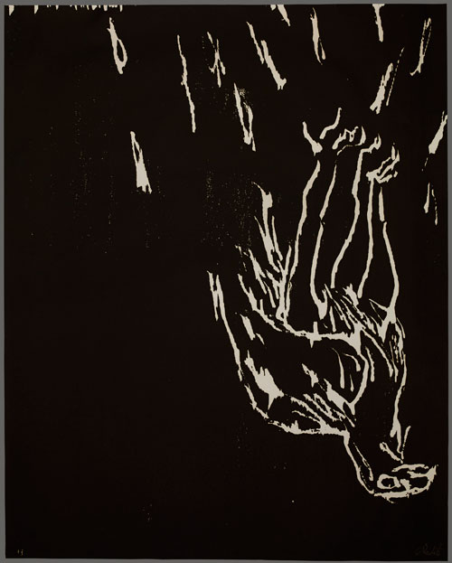 Georg Baselitz. Eagle, 1981/82. Woodcut. From the portfolio Erste Konzentration I, published by Maximilian Verlag, Sabine Knust, Munich, 1982. Presented to the British Museum by Count Christian Duerckheim. Reproduced by permission of the artist. © Georg Baselitz.