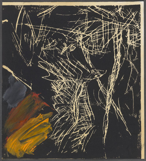 Georg Baselitz. Flying Eagle, 1977. Linocut additions in grey, red and yellow oil paint on paper. Presented to the British Museum by Count Christian Duerckheim. Reproduced by permission of the artist. © Georg Baselitz.