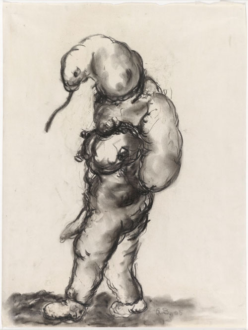 Georg Baselitz. Untitled, 1965. Charcoal on paper. Presented to the British Museum by Count Christian Duerckheim. Reproduced by permission of the artist. © Georg Baselitz