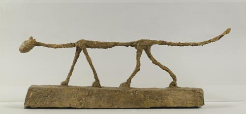 Alberto Giacometti. <em>The Cat</em>, 1951. Coated painted plaster, 29 x 80.5 x 13.5 cm. Fondation Alberto et Annette Giacometti, Paris © Adagp