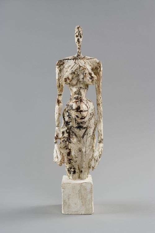 Alberto Giacometti. <em>Nude on a Cubic Pedestal</em>, 1953. Plaster reworked with a knife and paint, 43.5 x 11.7 x 11.8 cm. Fondation Alberto et Annette Giacometti, Paris © Adagp