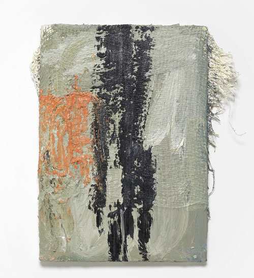 Lydia Gifford. Clacked, 2015. Wood, hessian, oil paint, 53 x 46 x 7 cm. Courtesy Laura Bartlett Gallery, London.