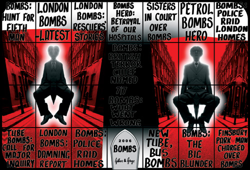 Gilbert & George. <em>Bombs</em> 2006. Courtesy Jay Jopling/White Cube, London © Copyright the artist 336 x 493 cm