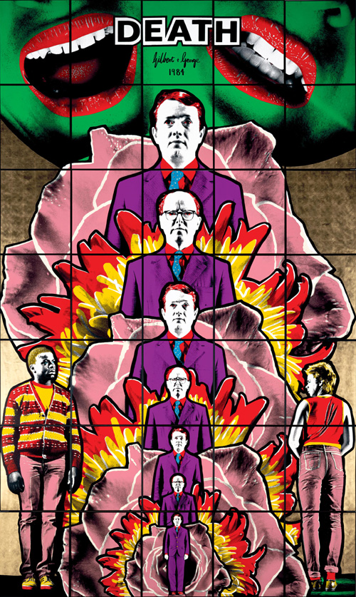 Gilbert &amp; George. <em>Death Hope Life Fear</em> 1984 Tate &copy; the artists Hand-coloured photographs, framed object: 4220 x 2500 mm object: 4220 x 6520 mm object: 4220 x 2500 mm object: 4220 x 6520 mm