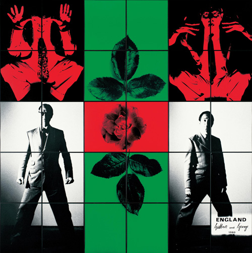 Gilbert &amp; George. <em>England</em> 1980 Tate &copy; The Artists Photographs, some hand-coloured, framed 3026 x 3026 mm