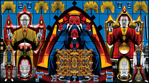 Gilbert &amp; George. <em>Fates</em> 2005 Tate &copy; Copyright the artists Laser print on paper 4260 x 7600 mm
