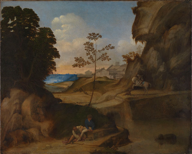 Giorgione. Il Tramonto (The Sunset). Oil on canvas, 73.3 x 91.4 cm. The National Gallery, London. Photograph © The National Gallery, London.