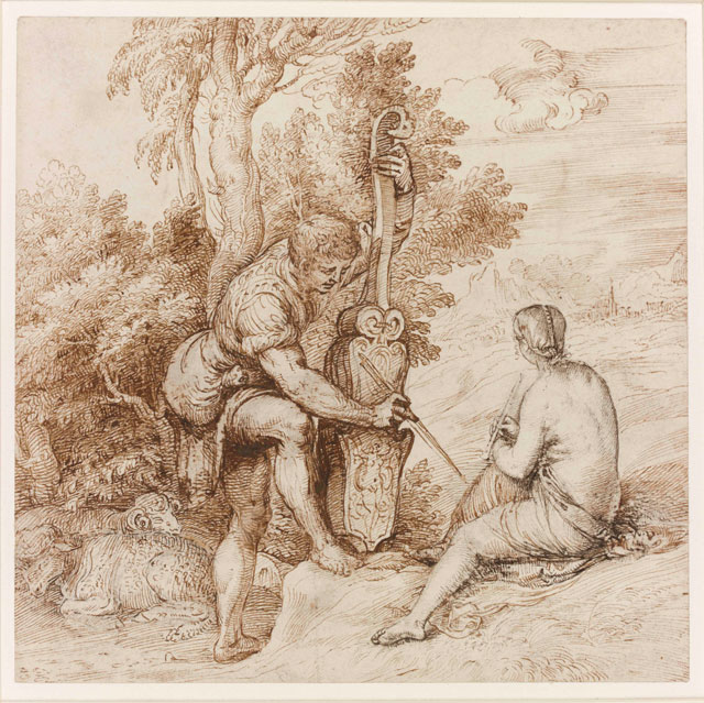 Titian. Two Arcadian Musicians in a Landscape. Pen and brown ink over black chalk on paper, 22.4 x 22.6 cm. On loan from the British Museum, London. © The Trustees of the British Museum.