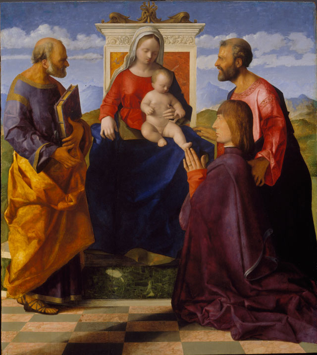 Giovanni Bellini. Virgin and Child with Saint Peter, Saint Mark and a Donor. Oil on panel, 91.4 x 81.3 cm. Birmingham Museum and Art Gallery. Photograph © Birmingham Museums.