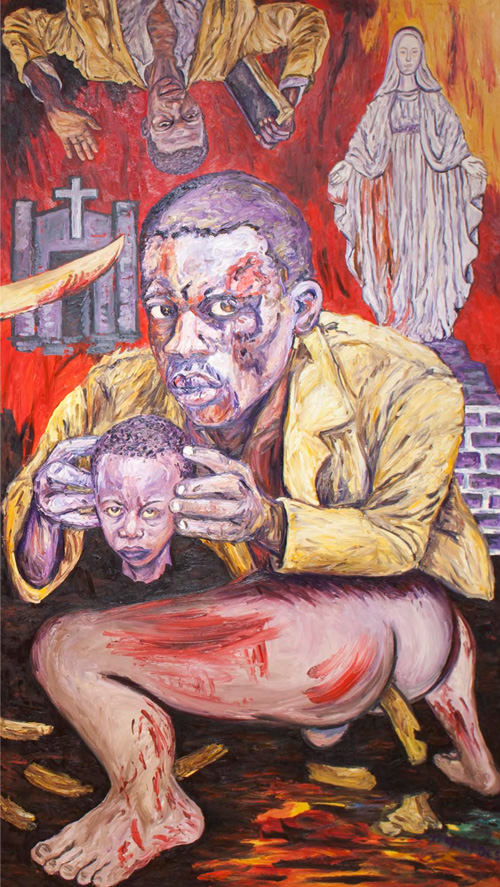 George Gittoes. Shit, 1997. Oil on canvas, 120 x 68 in.