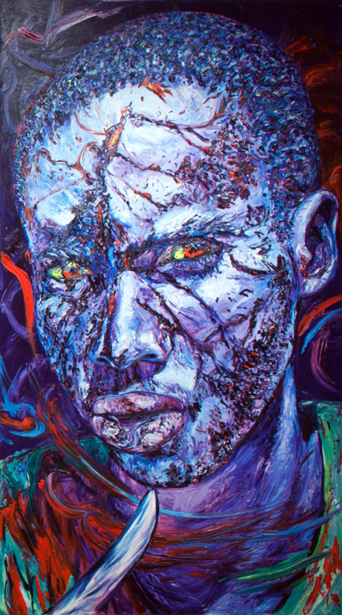 George Gittoes. Blood & Tears, 1997. Oil on canvas, 120 x 67 1/2 in.