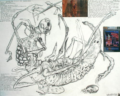 George Gittoes. <em>The transformation - Metamorphosis - Kafka NY</em>, 8 November 2002. Pencil and mixed media, 58.5 x 72.5 cm.