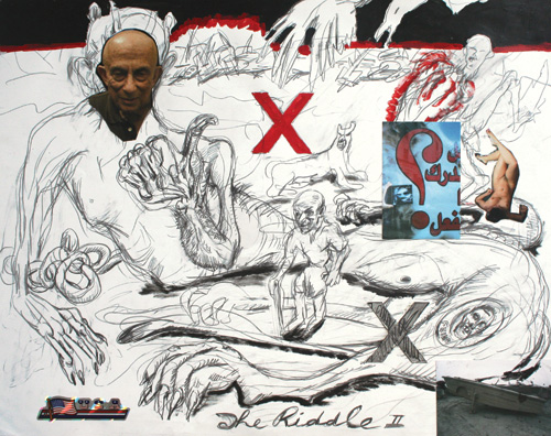 George Gittoes. <em>The Riddle 11</em>, 2002. Drawing: pencil and mixed media on paper, 57.5 cm x 72.5 cm. Collection of Artist.