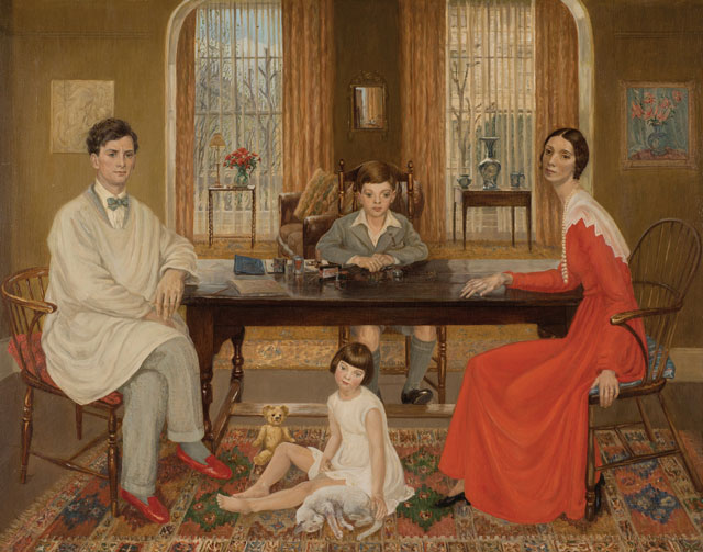 Muriel Wheeler. Self and Family, 1933. Oil on panel, 55.3 x 70.8 cm. Private collection. Image courtesy of The Fine Art Society.