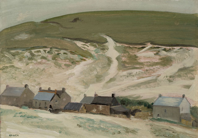 Gluck. Cottages Below the Downs, 1968. Oil on Board, 26 x 36 cm. Private collection. Image courtesy of The Fine Art Society.