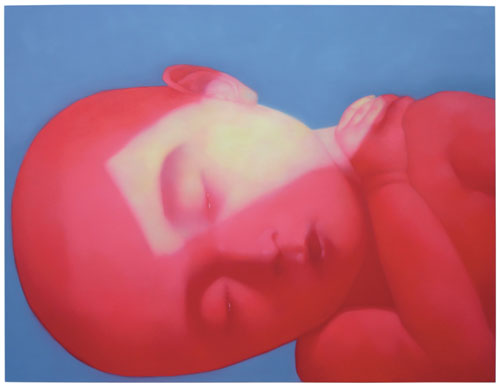 Zhang Xiaogang. Red child, 2005. Oil on canvas, 200 x 250 cm. M+ Sigg Collection.