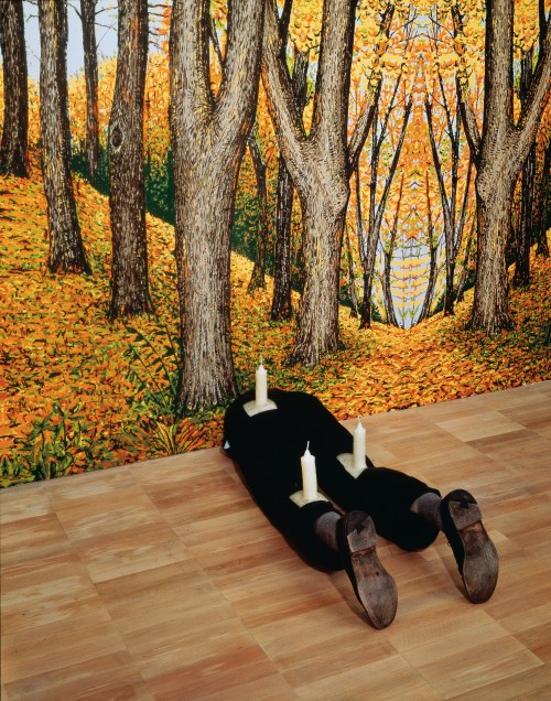Robert Gober. Untitled, 1991. Wood, beeswax, leather, fabric, and human hair. 13 1/4 x 16 1/2 x 46 1/8 in (33.6 x 41.9 x 117.2 cm). The Museum of Modern Art, New York. Gift of Werner and Elaine Dannheisser. Background: Forest, 1991. Hand-painted silkscreen on paper. Image Credit: K. Ignatiadis, courtesy the artist and Matthew Marks Gallery. © 2014 Robert Gober.